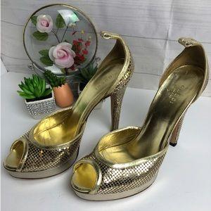 Gucci Gold Open Toes High Heels Platform Shoes